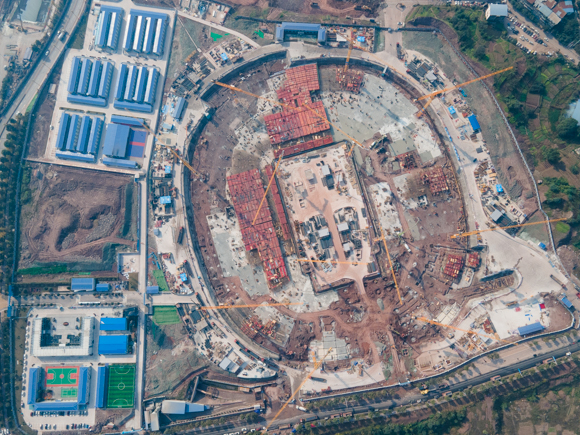The outline of the stadium has begun to take shape. (Provided by China Construction Eighth Engineering Division Co., Ltd.)